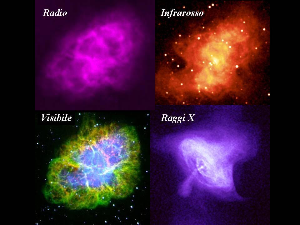La Nebulosa del Granchio osservata in 4 diverse lunghezze d'onda